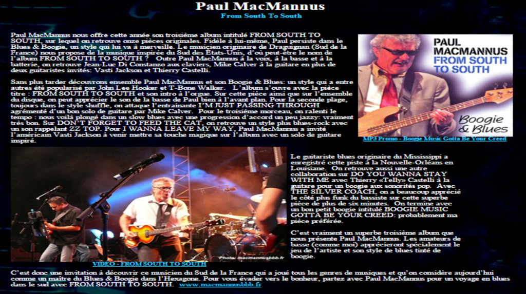 Article de Paul Lamontagne - Le Net Blues